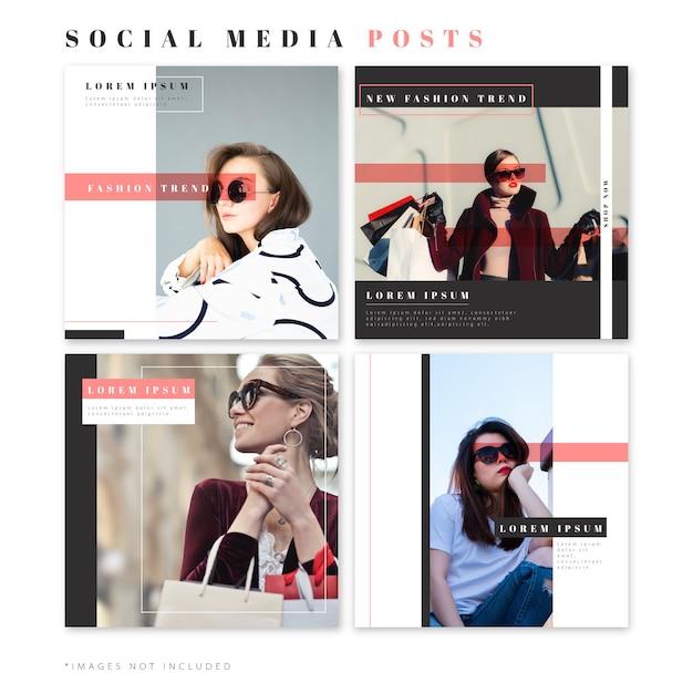 Publicaciones de moda para redes sociales. vector gratuito
