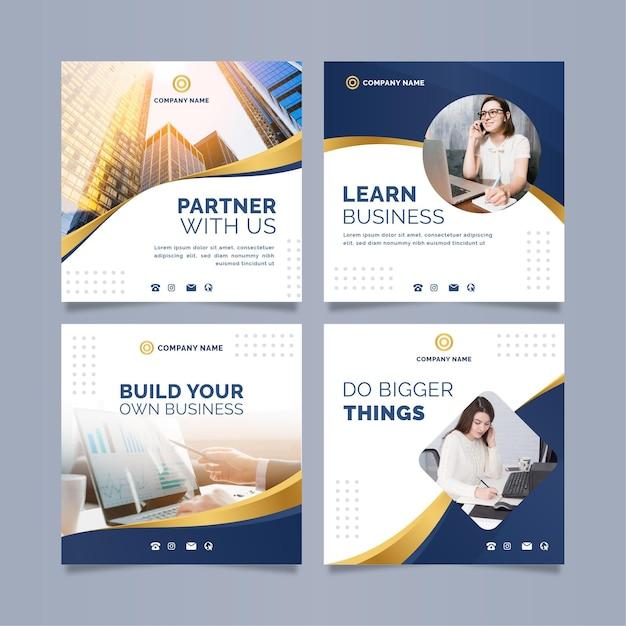 Publicaciones en redes sociales empresariales Vector Premium