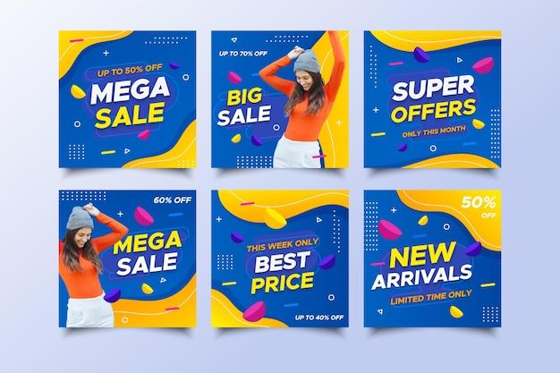 Publicaciones de redes sociales de mega venta con descuento vector gratuito