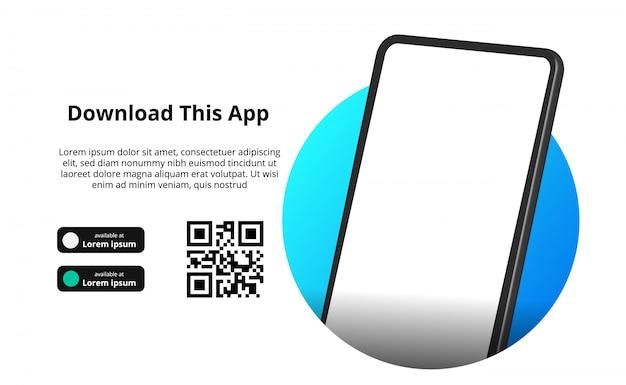 Publicidad de banner de página para descargar la aplicación para teléfono móvil, teléfono inteligente. descargar botones con escanear plantilla de código qr. Vector Premium