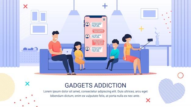 Publicidad cartel inscripción gadgets adicción. Vector Premium