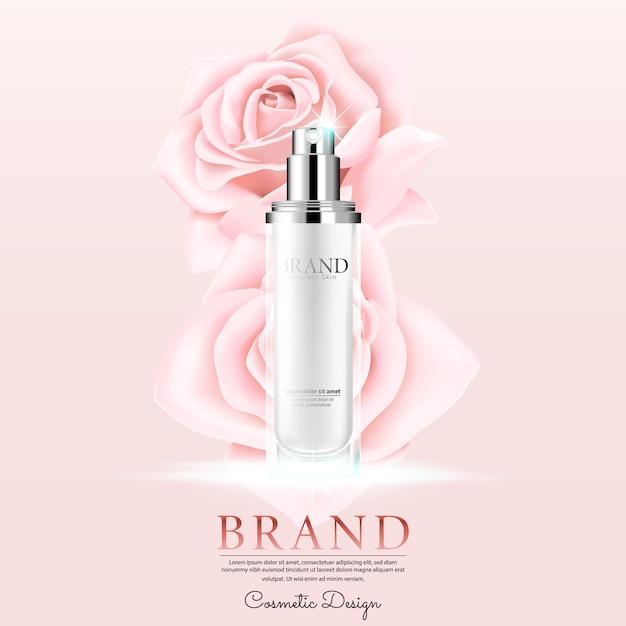 Publicidad cosmética con el pétalo de rosas en fondo rosado. Vector Premium