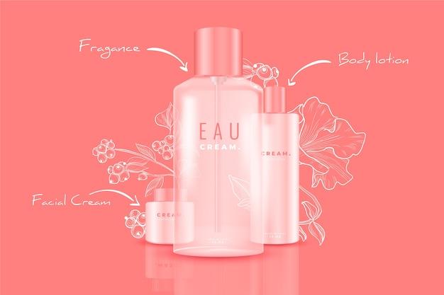 Publicidad de productos cosméticos vector gratuito