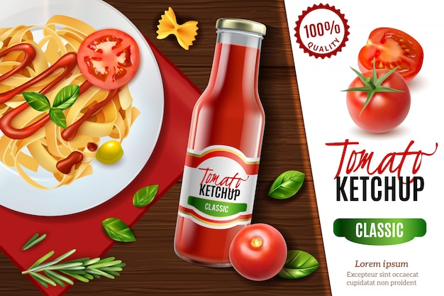 Publicidad realista de ketchup de tomate con vista de mesa de madera y plato de pasta con texto vector gratuito