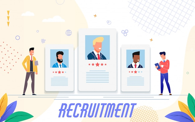 Publicidad para reclutamiento, diseño plano. Vector Premium