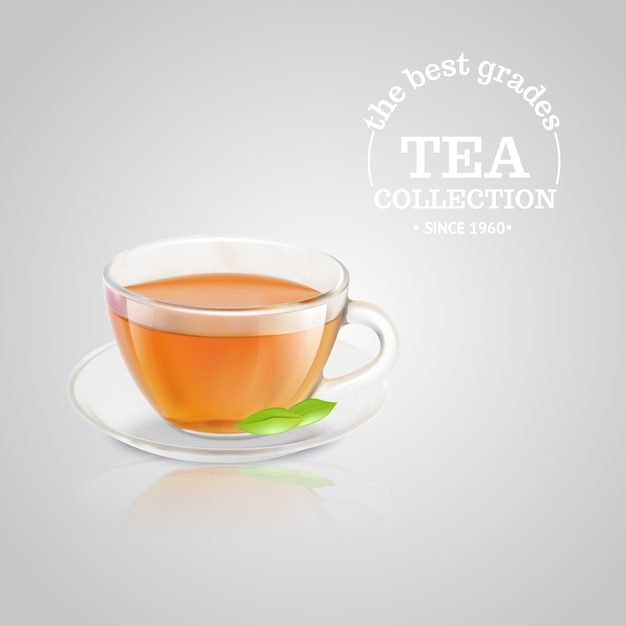 Publicidad de taza de té vector gratuito