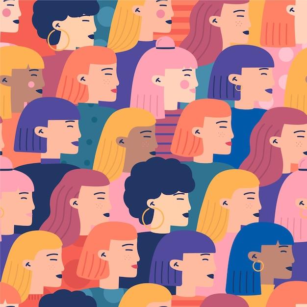 Público lleno de mujeres de patrones sin fisuras vector gratuito
