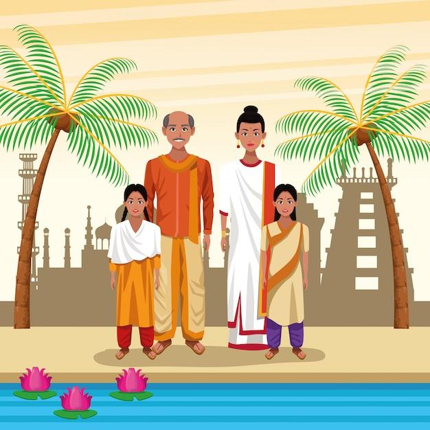 Pueblo étnico indio dibujos animados en la ciudad vector gratuito