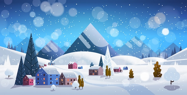 Pueblo de invierno casas montañas colinas paisaje nevadas Vector Premium