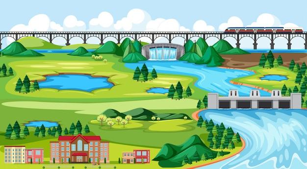 Pueblo o ciudad y escena de paisaje de tren de puente en estilo de dibujos animados Vector Premium