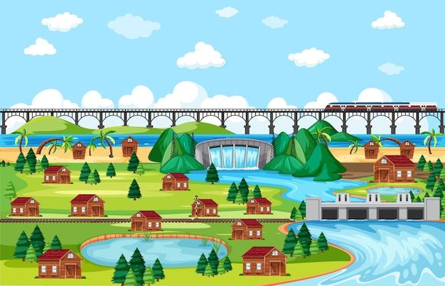 Pueblo o ciudad y escena de paisaje de tren puente en estilo de dibujos animados vector gratuito