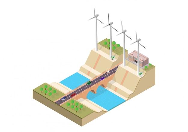 Puente isométrico y molino de viento. Vector Premium