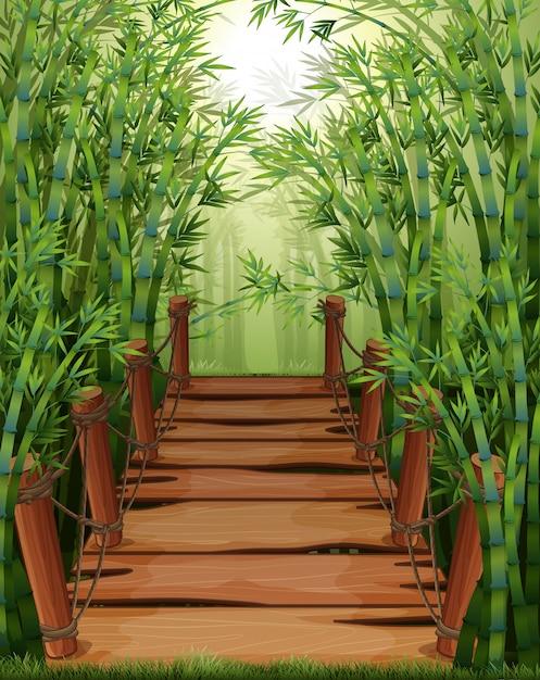 Puente de madera en bosque de bambú vector gratuito