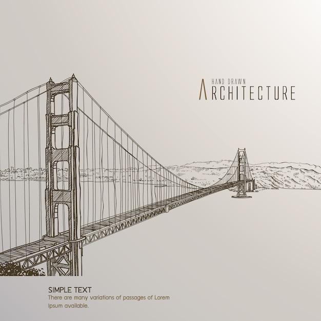 Puente de san francisco dibujado a mano vector gratuito