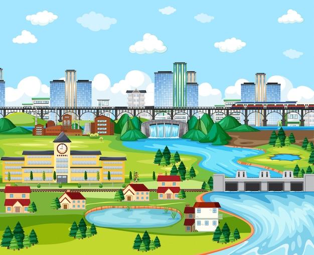 Puente de tren de la ciudad y la escuela y el cielo con estilo de dibujos animados de escena de paisaje de presa vector gratuito