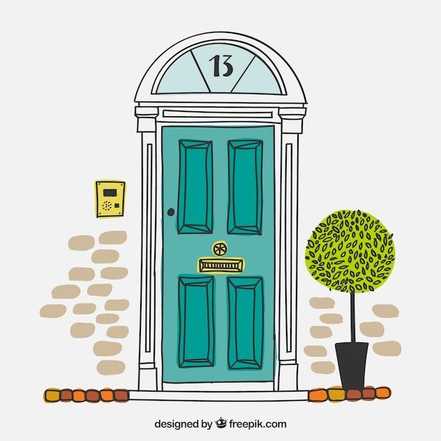 Puerta de casa brit nica dibujada a mano descargar for Puertas bonitas para casa