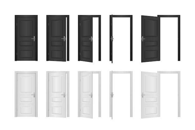 Puerta de entrada abierta y cerrada de la casa aislada en blanco Vector Premium
