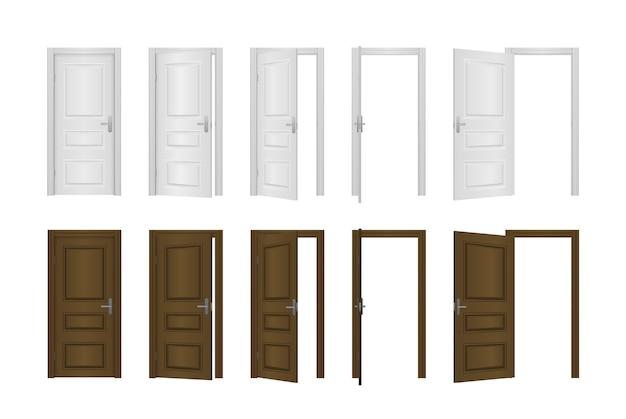 Puerta de entrada abierta y cerrada de la casa aislada sobre fondo blanco. Vector Premium