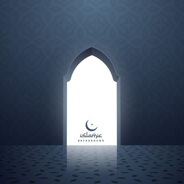 Puerta de la mezquita con la luz blanca que viene del interior vector gratuito