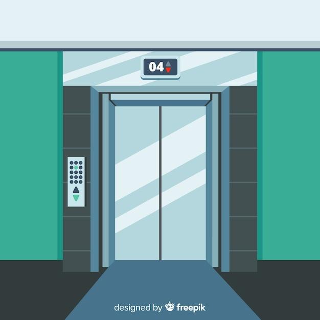 Puertas de ascensor brillosas vector gratuito