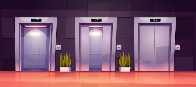 Puertas de ascensor de dibujos animados, puertas de ascensor cerradas y abiertas vector gratuito