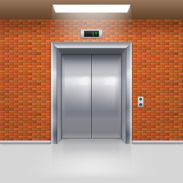 Puertas de ascensor Vector Premium