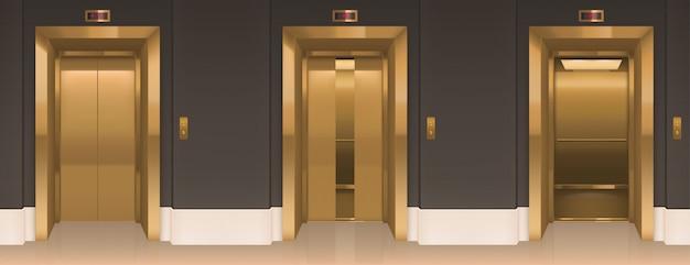 Puertas de elevación doradas. pasillo de oficina con cabinas elevadoras vector gratuito