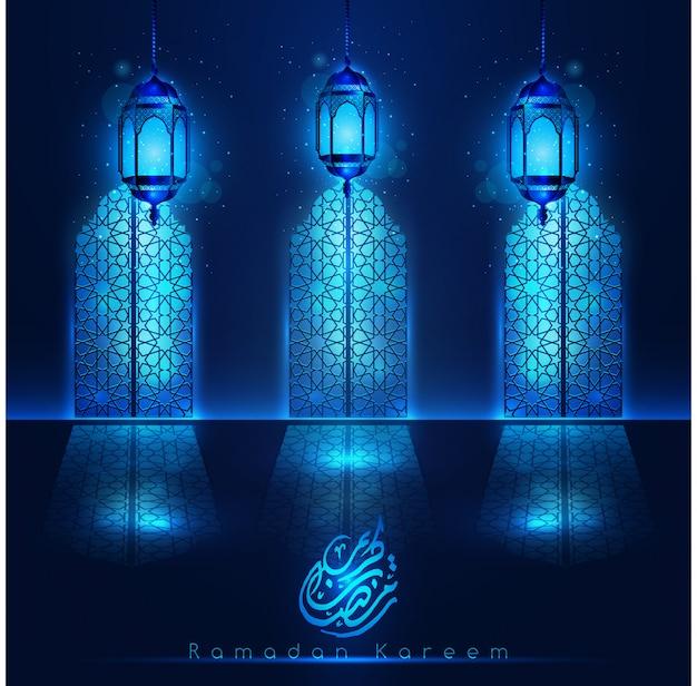Puertas de la mezquita de ramadan kareem con linternas de color azul claro y patrón Vector Premium