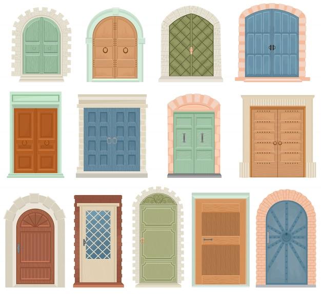 Puertas vector vintage puerta entrada frontal ascensor entrada o ascensor interior casa interior conjunto medieval edificio poste de la puerta alféizar y puerta Vector Premium