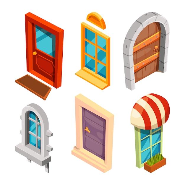 Puertas y ventanas isometricas Vector Premium