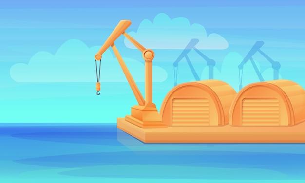 Puerto de dibujos animados con grúas y hangares, ilustración vectorial Vector Premium