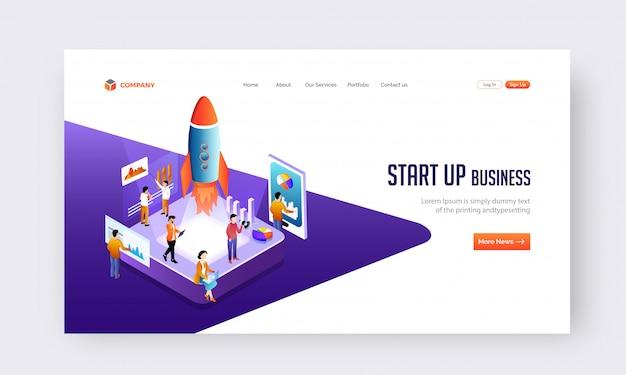 Puesta en marcha del concepto de negocio web o diseño de página de destino. Vector Premium