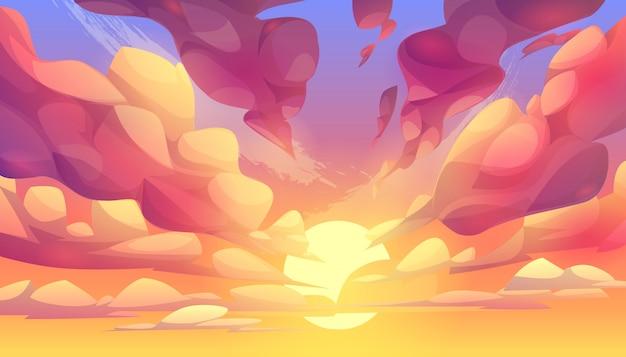 Puesta de sol o amanecer, cielo con fondo de nubes rosadas vector gratuito