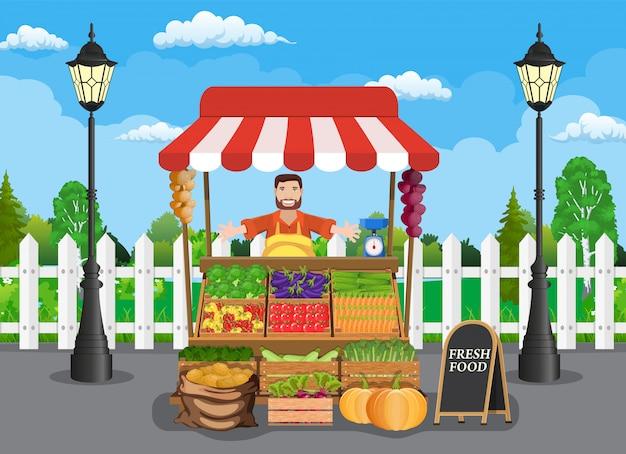 Puesto de comida tradicional mercado de madera Vector Premium