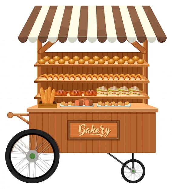 Puesto de panadería de madera aislado Vector Premium