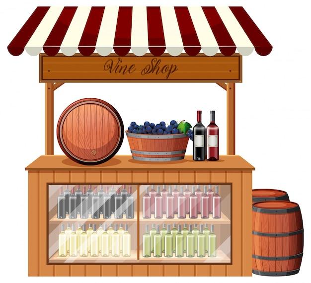 Un puesto de tienda de vinos. vector gratuito
