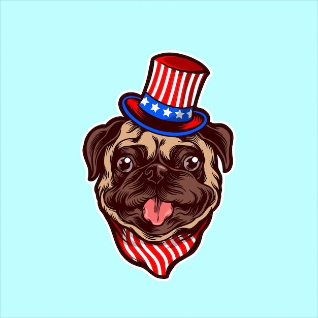 Pug americano Vector Premium