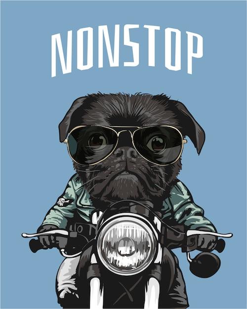 Pug negro en gafas de sol montando motocicleta ilustración Vector Premium