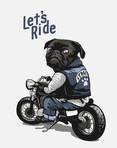 Pug negro en la ilustración de dibujos animados de motos Vector Premium