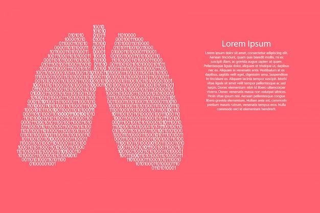 Pulmones anatomía humana órgano respiratorio resumen esquemático de los blancos y ceros código binario digital en color rosa coral para pancarta, póster, tarjeta de felicitación. . Vector Premium