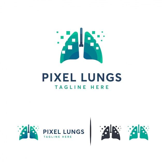 Pulmones digitales, logotipo de pixel lungs Vector Premium