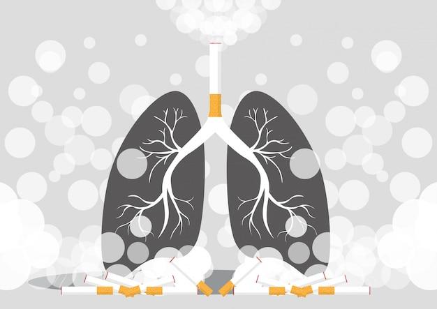 Los pulmones fuman cáncer Vector Premium