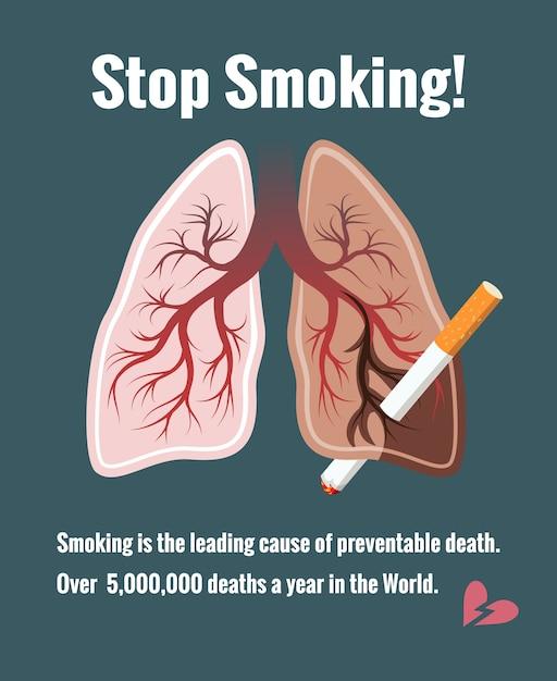 Pulmones y tabaquismo, deja de fumar. cáncer y tabaco, muerte y enfermedad vector gratuito