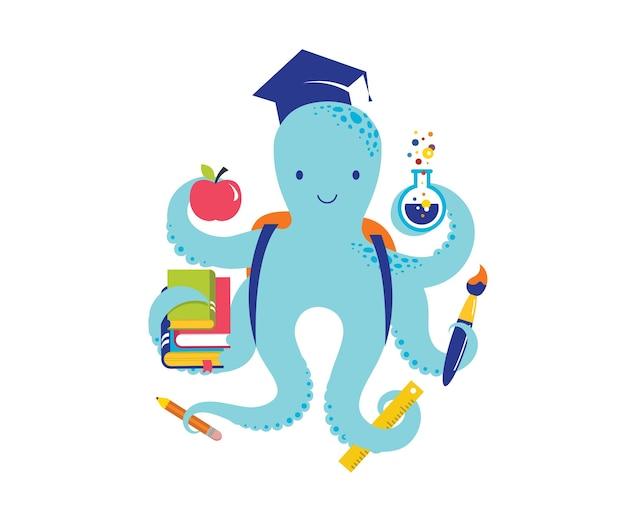 Pulpo con una gran cantidad de iconos educativos, elementos. volver al concepto de escuela. ilustración vectorial y diseño Vector Premium