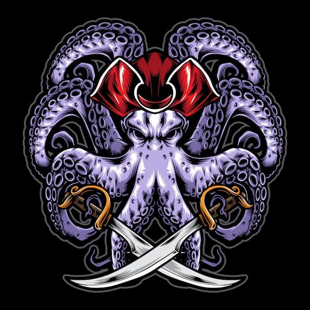 Pulpo pirata con espada Vector Premium