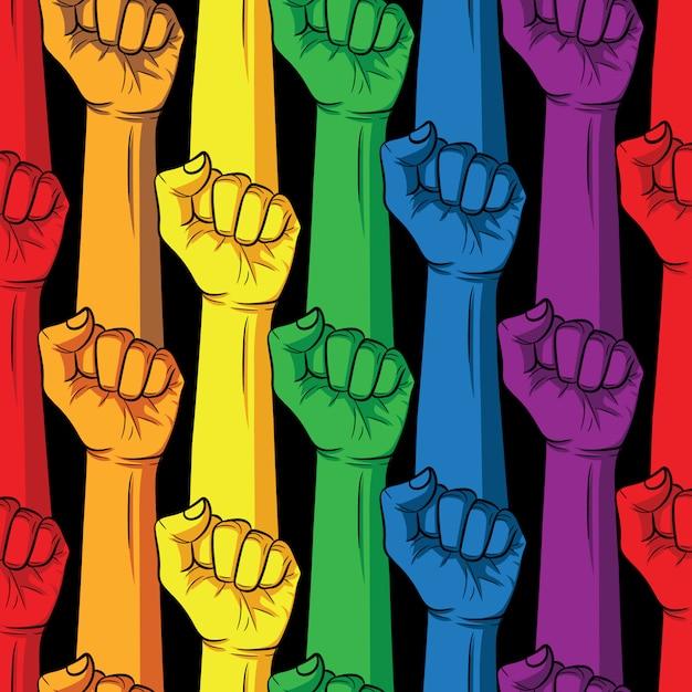 Puño en colores del arco iris sobre un fondo negro. diseño de carteles de la comunidad lgbt Vector Premium