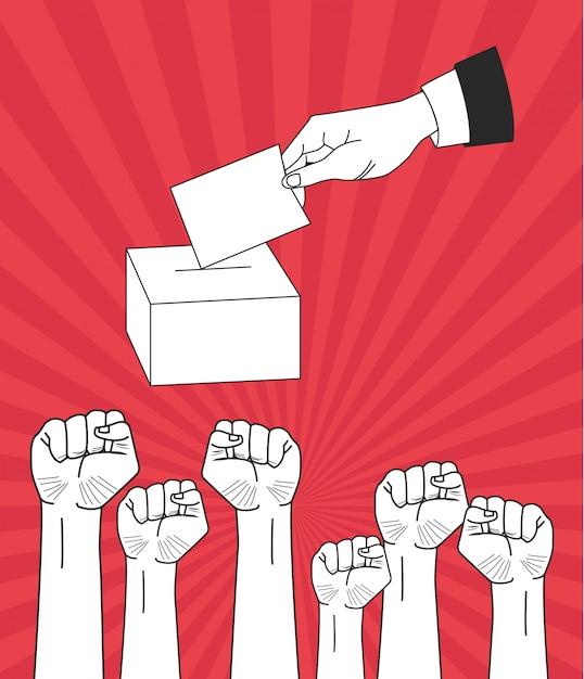 Puños levantados a mano y votando. Vector Premium