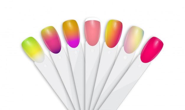 Puntas De Esmalte De Uñas En Diferentes Colores Vector