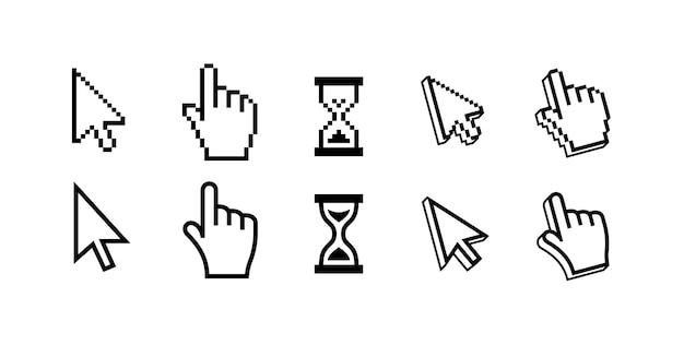 Puntero, flecha y espera de los cursores del mouse de píxeles vector gratuito