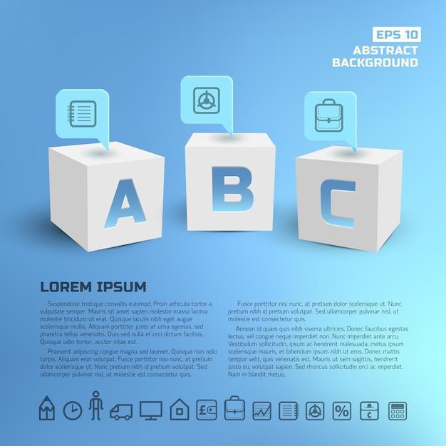 Punteros de negocios en infografías de cubos blancos 3d vector gratuito